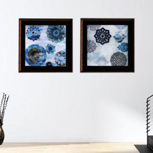 Par de Quadros Mandalas em Tons de Azul para Sala Quarto Hotéis Escritório, 50x50cm C/ Vidro 2mm e Moldura na Cor Tabaco