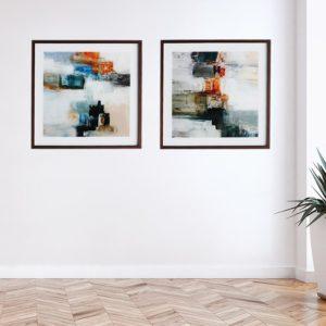 Par de Quadros Pintura Abstrata para Sala Quarto Hotéis Escritório, 50x50cm C/ Vidro 2mm e Moldura na Cor Tabaco