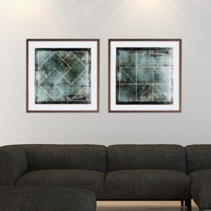 Par de Quadros Geométrico em Tom Verde Musgo Escuro para Sala Quarto Hotéis Escritório, 50x50cm C/ Vidro 2mm e Moldura na Cor Tabaco
