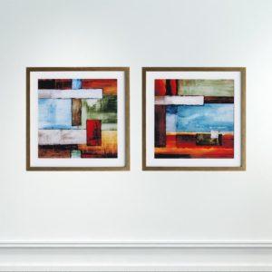 Par de Quadros Retângulos Abstratos para Sala Quarto Hotéis Escritório, 60x60cm C/ Vidro 2mm e Moldura na Cor Dourada