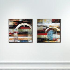 Par de Quadros Abstratos Lines and Circles para Sala Quarto Hotéis Escritório, 80x80cm C/ Vidro 2mm e Moldura na Cor Tabaco