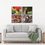 Conjunto de Quadros Botânicos Folhagem, Flor de Espinhos e Physocarpus em Tecido Canvas para Sala Quarto Hall Escritório, 53X43cm, Quadro Emoldurado, Moldura na Cor Tabaco