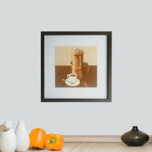 Quadro Bule e Xicara de Café para Cozinha, Lanchonetes, Restaurantes, 30x30cm C/ Vidro 2mm e Moldura em Madeira na cor Tabaco