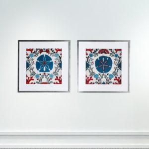 Par de Quadros Corais Abstratos para Sala Quarto Hotéis Escritório, 80x80cm C/ Vidro 2mm e Moldura na Cor Prata