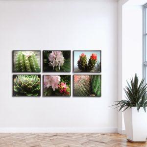 Conjunto de Quadros Botânicos em Tecido Canvas para Sala Quarto Hall Escritório, 53X43cm, Quadro Emoldurado, Moldura na Cor Tabaco