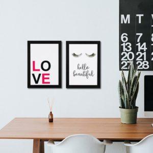 """Par de Quadros Decorativos """"Love"""" e """"Hello Beautiful"""" para Sala Quarto Hotéis Escritório, 24,5×33,5cm C/ Vidro 3mm e Moldura na cor Preta"""