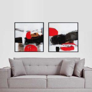 Par de Quadros Abstratos Vermelho e Preto para Sala Quarto Hotéis Escritório, 80x80cm C/ Vidro 2mm e Moldura na Cor Preta