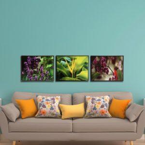 Trio de Quadros Botânicos Lavanda, Strelitzia e Orquídea Mini em Tecido Canvas para Sala Quarto Hall Escritório, 53x43cm, Quadro Emoldurado, Moldura na Cor Tabaco
