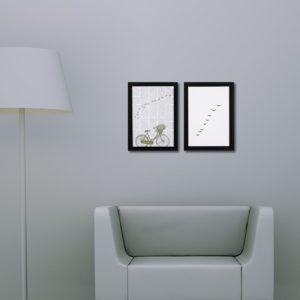Par de Quadros Bicicleta e Pássaros para Sala Quarto Hotéis Escritório, 24,5×33,5cm C/ Vidro 3mm e Moldura na cor Preta