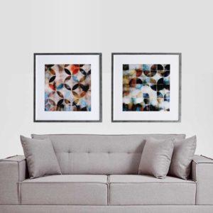 Par de Quadros Abstratos Círculos e Semi Círculos para Sala Quarto Hotéis Escritório, 80x80cm C/ Vidro 2mm e Moldura na Cor Prata