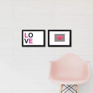 """Par de Quadros Decorativos """"Love"""" e Coração para Sala Quarto Hotéis Escritório, 24,5×33,5cm C/ Vidro 3mm e Moldura na cor Preta"""