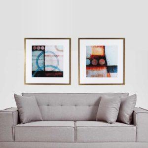 Par de Quadros Geométricos Abstratos Tons de Vermelho e Azul para Sala Quarto Hotéis Escritório, 80x80cm C/ Vidro 2mm e Moldura na Cor Dourada