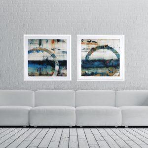 Par de Quadros Abstratos Círculo Tons de Azul e Branco para Sala Quarto Hotéis Escritório, 80x80cm C/ Vidro 2mm e Moldura na Cor Branca