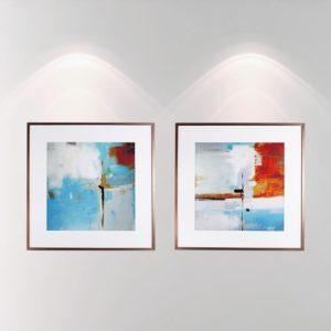 Par de Quadros Abstratos Azul e Vermelho para Sala Quarto Hotéis Escritório, 80x80cm C/ Vidro 3mm e Moldura na Cor Cobre