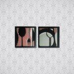 Par de Quadros Talheres Abstratos para Cozinha, Lanchonetes, Restaurantes, 33x33cm C/ Vidro 2mm e Moldura em Madeira na cor Preto