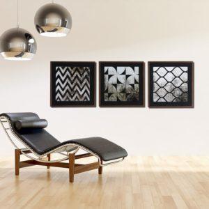 Trio de Quadros Abstratos em Tons de Preto para Sala Quarto Hotéis Escritório, 60x60cm C/ Vidro 2mm e Moldura na Cor Tabaco
