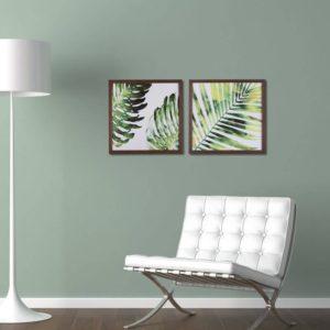 Par de Quadros Botânico 1 para Sala Quarto Hotéis Escritório, 32x32cm C/ Vidro 3mm e Moldura em Madeira na cor Tabaco