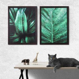 Par de Quadros Folhas Verdes com Gotas de Água para Sala Quarto Hotéis Escritório, 43x33cm C/ Vidro 3mm e Moldura em Madeira na cor Tabaco Escuro