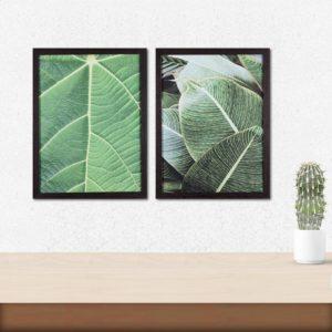 Par de Quadros Folhagem Verde para Sala Quarto Hotéis Escritório, 43x33cm C/ Vidro 3mm e Moldura em Madeira na cor Tabaco Escuro