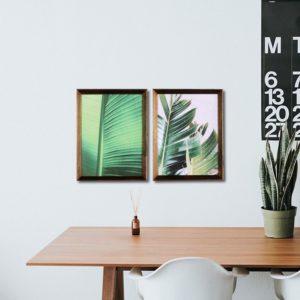 Par de Quadros Folhas Bananeira, Sala Quarto Hotéis Escritório, 43x33cm,Vidro 3mm, Moldura em Madeira na cor Natural