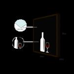Quadro Porta Rolhas Garrafa e Taça p/ Cozinhas Bares Área de Churrasco, C/ vidro 3mm e Moldura em Madeira na Cor Tabaco