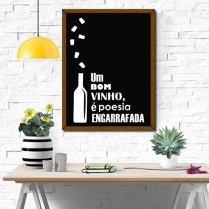 Quadro Porta Rolhas Poesia Engarrafada 2 p/ Cozinhas Bares Área de Churrasco, C/ vidro 3mm e Moldura em Madeira na Cor Mel