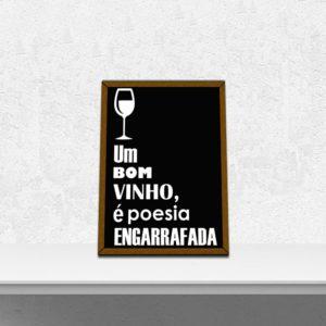 Quadro Porta Rolhas Poesia Engarrafada 3 p/ Cozinhas Bares Área de Churrasco, C/ vidro 3mm e Moldura em Madeira na Cor Mel