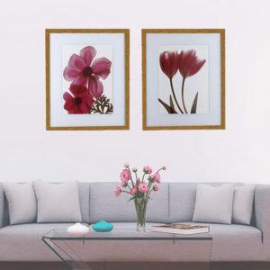 Par de Quadros Decorativos Flores Papoula Rosa, 57X47cm C/ Vidro 2mm e Moldura em Madeira na cor Mel