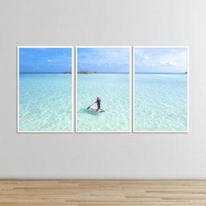 kit de Quadros Surfista, Águas Cristalinas, Sala Quarto Hotéis Escritório, 180x120cm, Vidro 3mm e Moldura na Cor Branca
