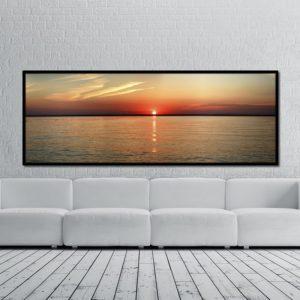 Quadro Pôr do Sol ao Mar, Sala Quarto Hotéis Escritório, 200x70cm, Vidro 3mm e Moldura na Cor Preta
