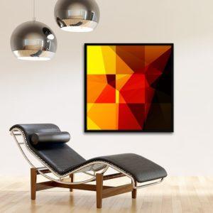 Quadro Polígonos em Tons de Vermelho e Amarelo para Sala Quarto Hotéis Escritório, 100x100cm C/ Vidro 3mm e Moldura na Cor Preta