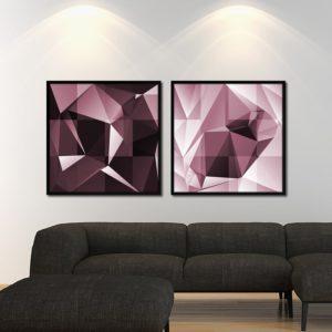 Par de Quadros Polígonos em Tons de Rosa para Sala Quarto Hotéis Escritório, 80x80cm C/ Vidro 3mm e Moldura na Cor Preta