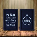 Par de Quadros Decorativos Porta Tampinha e Lacre 2 p/ Cozinhas Bares Área de Churrasco, 32x22cm C/ vidro 3mm e Moldura em Madeira na Cor Preta