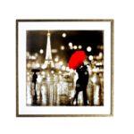 kit Quadros Casal, Sombrinha Vermelha Paris, Sala Quarto Hotéis Escritório, 60x60cm, Vidro 3mm, Moldura na Cor Dourada Envelhecida