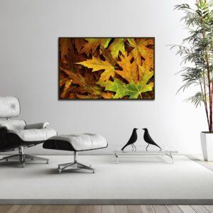 Quadro Folhas Amarelas para Sala Quarto Hotéis Escritório, 110x70cm C/ Vidro 3mm e Moldura na Cor Tabaco