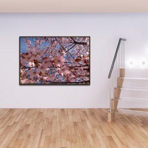 Quadro Arvore de Folhas Rosas para Sala Quarto Hotéis Escritório, 140x100cm C/ Vidro 3mm e Moldura na Cor Tabaco
