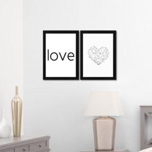 Par de Quadros Decorativos Coração e Love para Sala Quarto Hotéis Escritório, 24x33cm C/ Vidro 3mm e Moldura na cor Preta