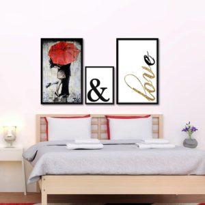 Trio de Quadros Decorativos Sombrinha Vermelha & Love para Sala Quarto Hotéis Escritório, 40x63cm C/ Vidro 3mm e Moldura na cor Preta