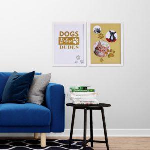 Par de Quadro e Porta Retrato Pet para Cães para Sala Quarto Hotéis Escritório, 43x33cm C/ Vidro 3mm e Moldura na cor Branca