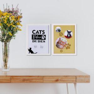 Par de Quadro e Porta Retrato Pet para Gatos para Sala Quarto Hotéis Escritório, 43x33cm C/ Vidro 3mm e Moldura na cor Branca