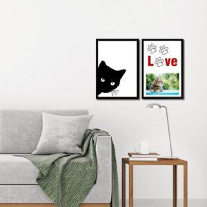 Par de Quadros Porta Retrato Pet Love Patinhas e Gatinho para Sala Quarto Hotéis Escritório, 33x23cm C/ Vidro 3mm e Moldura na cor Preta