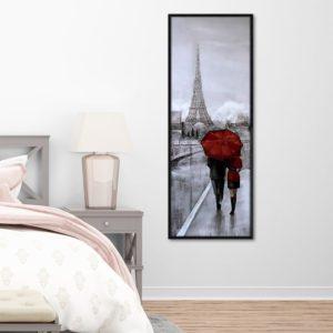 Quadro Decorativo Sombrinha Vermelha em Paris, Sala Quarto Hotéis Escritório, 40x110cm, Vidro 3mm e Moldura na cor Preta