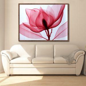 Quadro Flor Raio X Rosa para Sala Quarto Hotéis Escritório, 110x160cm Vidro 3mm e Moldura na Cor Tabaco