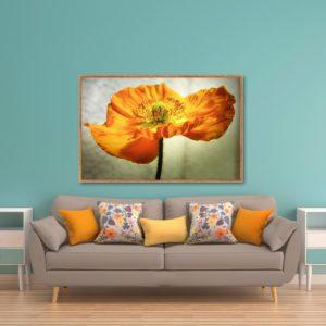 Quadro Flor Amarela para Sala Quarto Hotéis Escritório, 140x90cm C/ Vidro 3mm e Moldura na Cor Mel