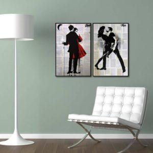 Par de Quadros Decorativos Casal Dançando para Sala Quarto Hotéis Escritório, 40x60cm C/ Vidro 3mm e Moldura na cor Preta