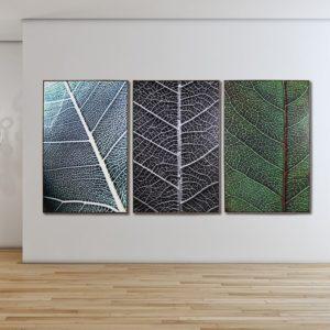 kit de Quadros Folhagens em Tecido Canvas para Sala, Quarto, Hotéis e Escritório, 103x143cm, Moldura na Cor Mel
