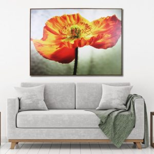 Quadro Floral Amarelo em Tecido Canvas para Sala Quarto Hotéis Escritório, 103x143cm, Moldura na Cor Mel