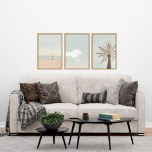 Kit de Quadros Califórnia, Praia, Céu e Coqueiro para Sala, Quarto, Hotéis e Escritório, 40x50cm, Vidro 3mm e Moldura na Cor Mel