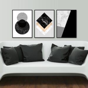Kit de Quadros Escandinavos com Formas Geométricas Preto e Branco para Sala Quarto Hotéis Escritório, 45x60cm, Vidro 3mm e Moldura na Cor Preta