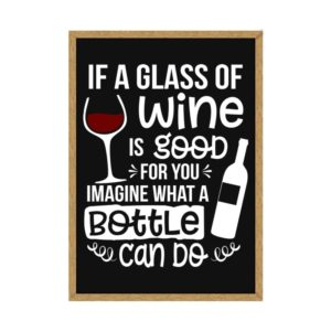 """Quadro Porta Rolhas """"If a glass of wine is good for you imagine what a bottle can do"""" p/ Cozinhas Bares Área de Churrasco, C/ vidro 3mm e Moldura em Madeira na Cor Mel"""